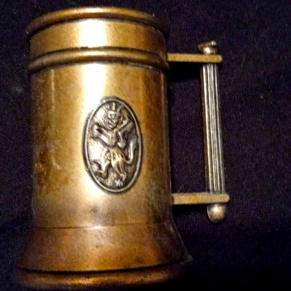 Set of 2 small brass beer steins